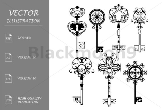 Set of Contoured Keys Graphic Illustrations By Blackmoon9