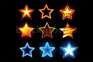 Download Free Set Of Glowing Stars Grafik Von Blackmoon9 Creative Fabrica for Cricut Explore, Silhouette and other cutting machines.