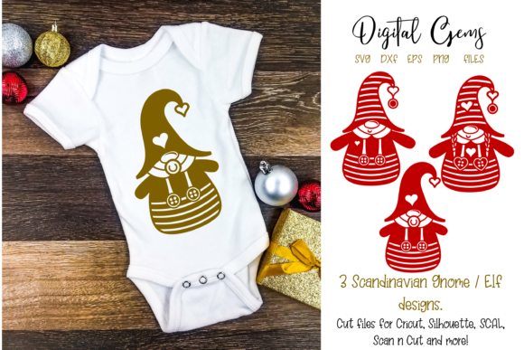Download Free 3 Scandinavian Gnome Designs Graphic By Digital Gems Creative for Cricut Explore, Silhouette and other cutting machines.