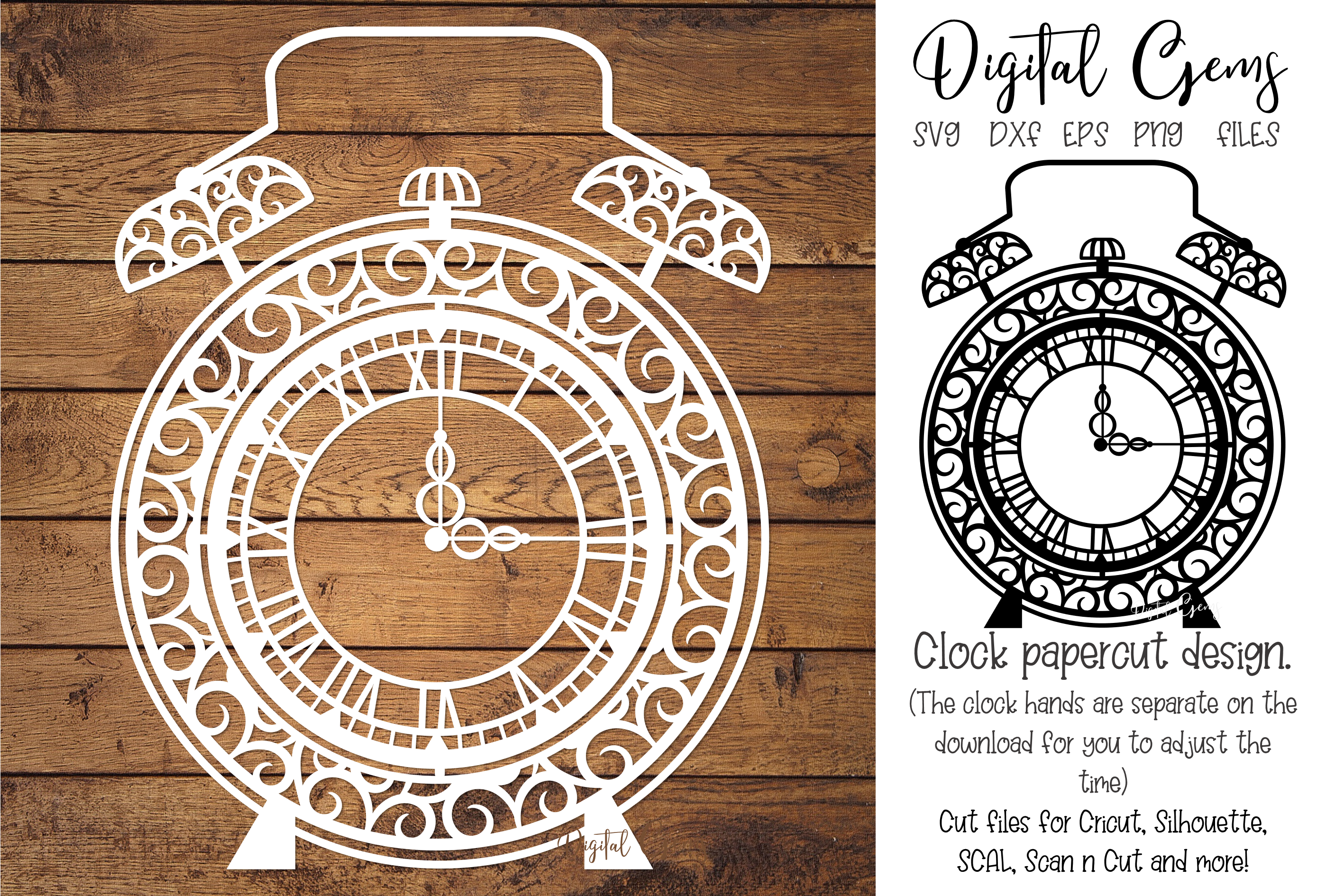Download Free Alarm Clock Paper Cut Design Graphic By Digital Gems Creative for Cricut Explore, Silhouette and other cutting machines.