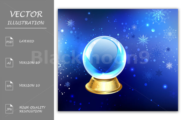 Download Free Snow Globe On A Blue Background Graphic By Blackmoon9 Creative for Cricut Explore, Silhouette and other cutting machines.