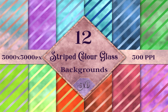 Print on Demand: Striped Colour Glass Backgrounds Graphic Backgrounds By SapphireXDesigns