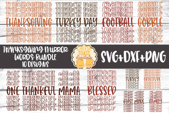 Thanksgiving Mirror Words SVG Bundle Gráfico Crafts Por CheeseToastDigitals
