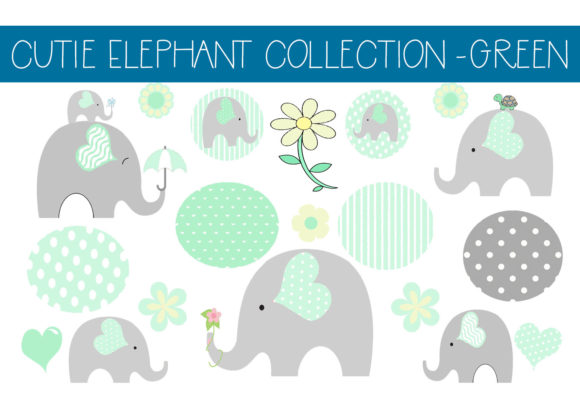Print on Demand: Cutie Elephant Collection - Green Graphic Illustrations By CapeAirForce