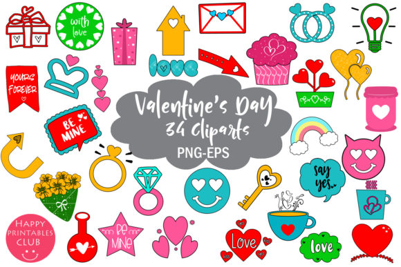 Print on Demand: Cute Valentines Day Clipart- Valentines Graphic Illustrations By Happy Printables Club
