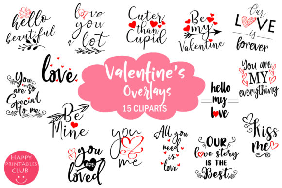 Print on Demand: Cute Valentines Overlays - Valentines Day Graphic Illustrations By Happy Printables Club