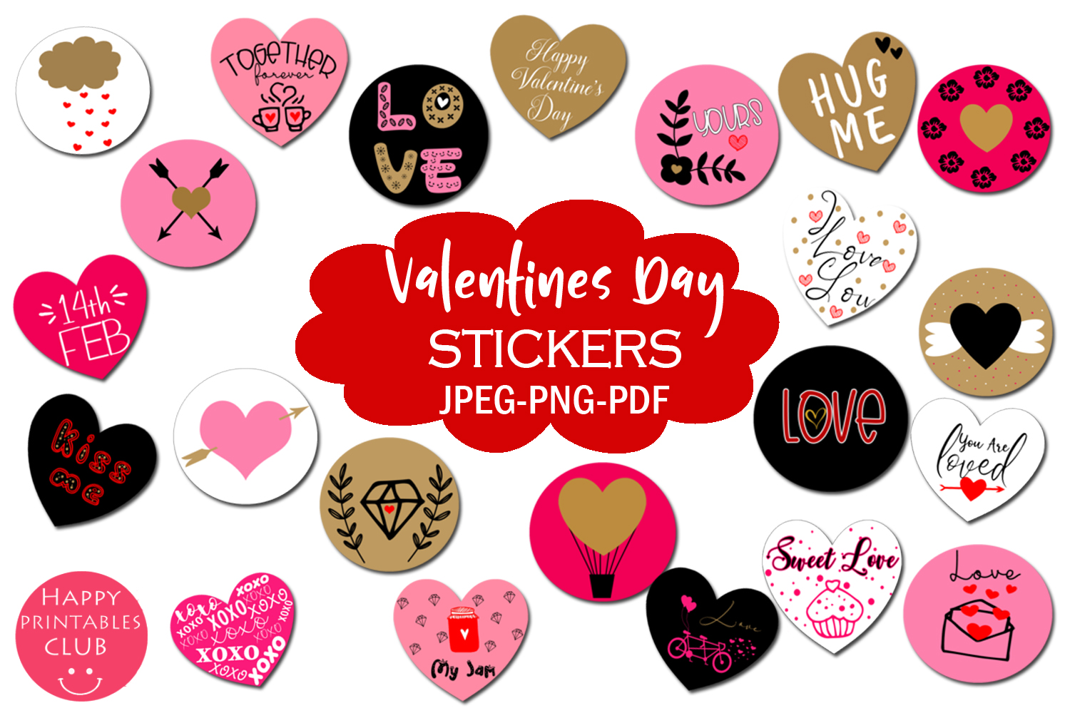Download Free Cute Valentines Day Stickers Graphic By Happy Printables Club for Cricut Explore, Silhouette and other cutting machines.
