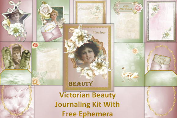Download Free Vintage Journaling Kit Free Ephemera Graphic By The Paper for Cricut Explore, Silhouette and other cutting machines.