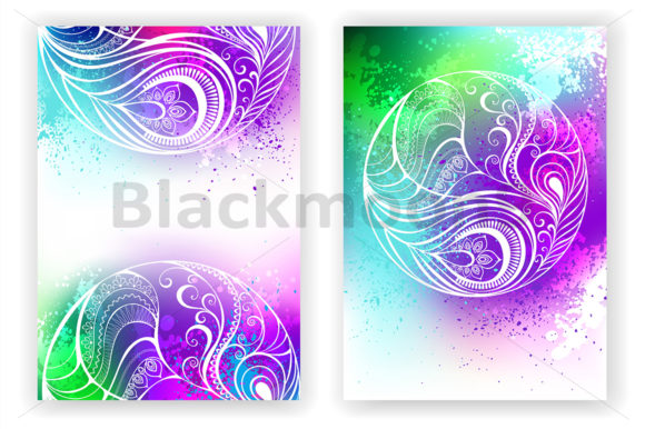 Watercolor Design with Abstract Feather Graphic Print Templates By Blackmoon9