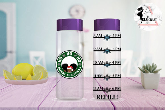 Download Free Christmas Afro Girl Water Bottle Tracker Graphic By Elzicraft for Cricut Explore, Silhouette and other cutting machines.