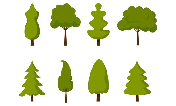 Download Free Tree Cartoon Park Forest Logo Vector Graphic By Deemka Studio for Cricut Explore, Silhouette and other cutting machines.