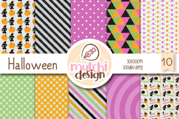Print on Demand: Halloween Digital Papers Graphic Backgrounds By Mutchi Design