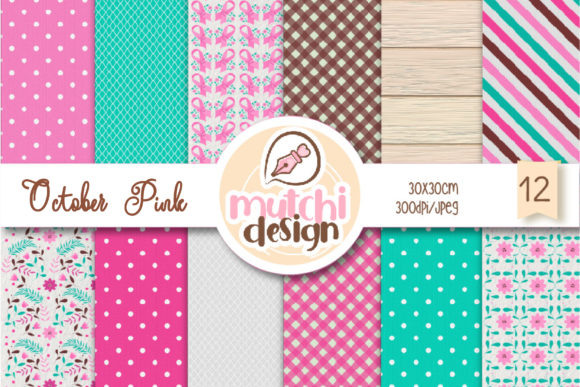 Print on Demand: October Pink Digital Papers Graphic Backgrounds By Mutchi Design