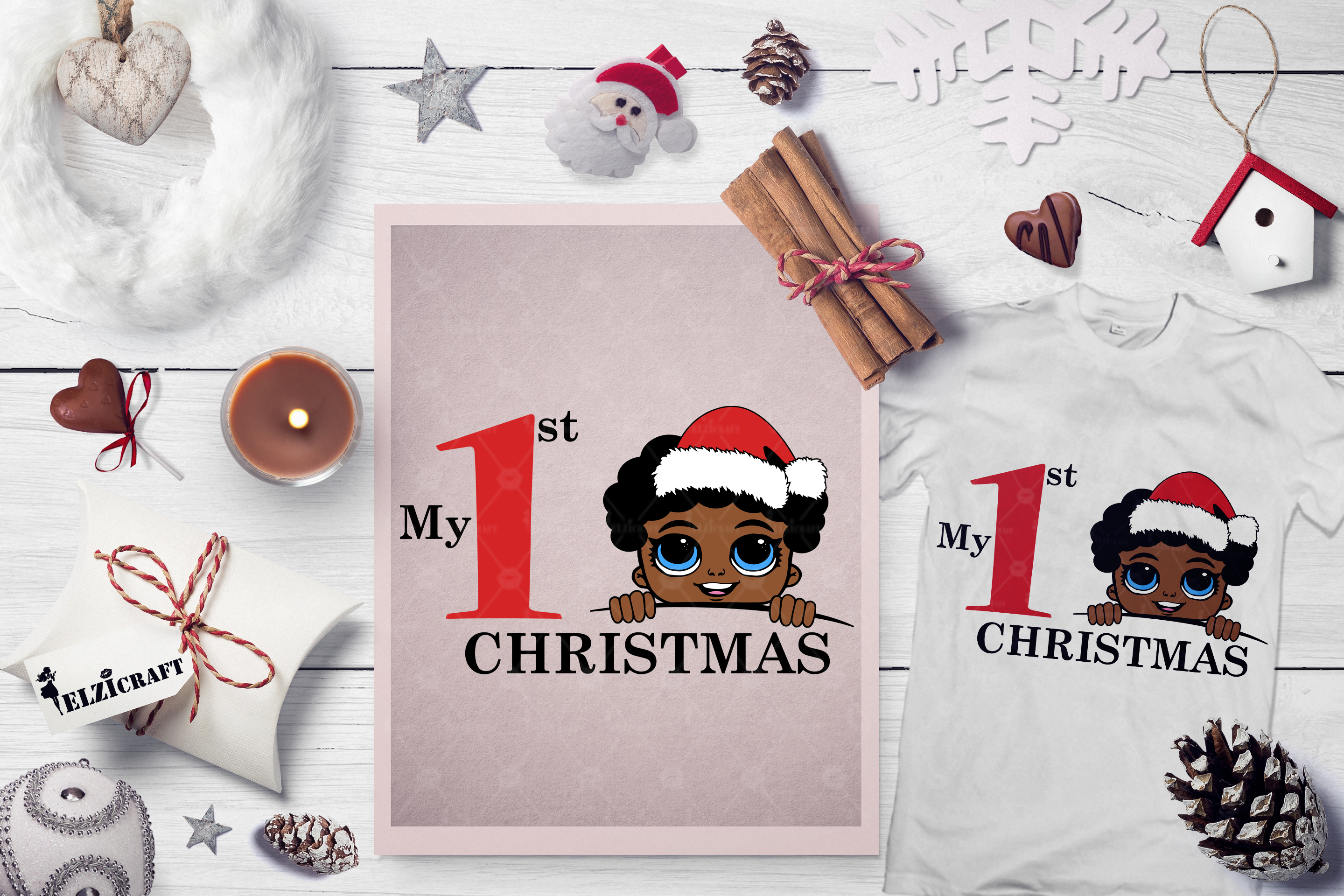 Download Free Afro Boy Peeking My First Christmas Graphic By Elzicraft for Cricut Explore, Silhouette and other cutting machines.