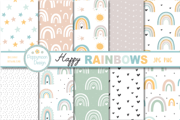 Print on Demand: Happy Rainbows Paper Graphic Patterns By poppymoondesign