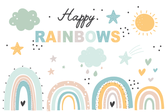 Print on Demand: Happy Rainbows Gráfico Ilustraciones Por poppymoondesign