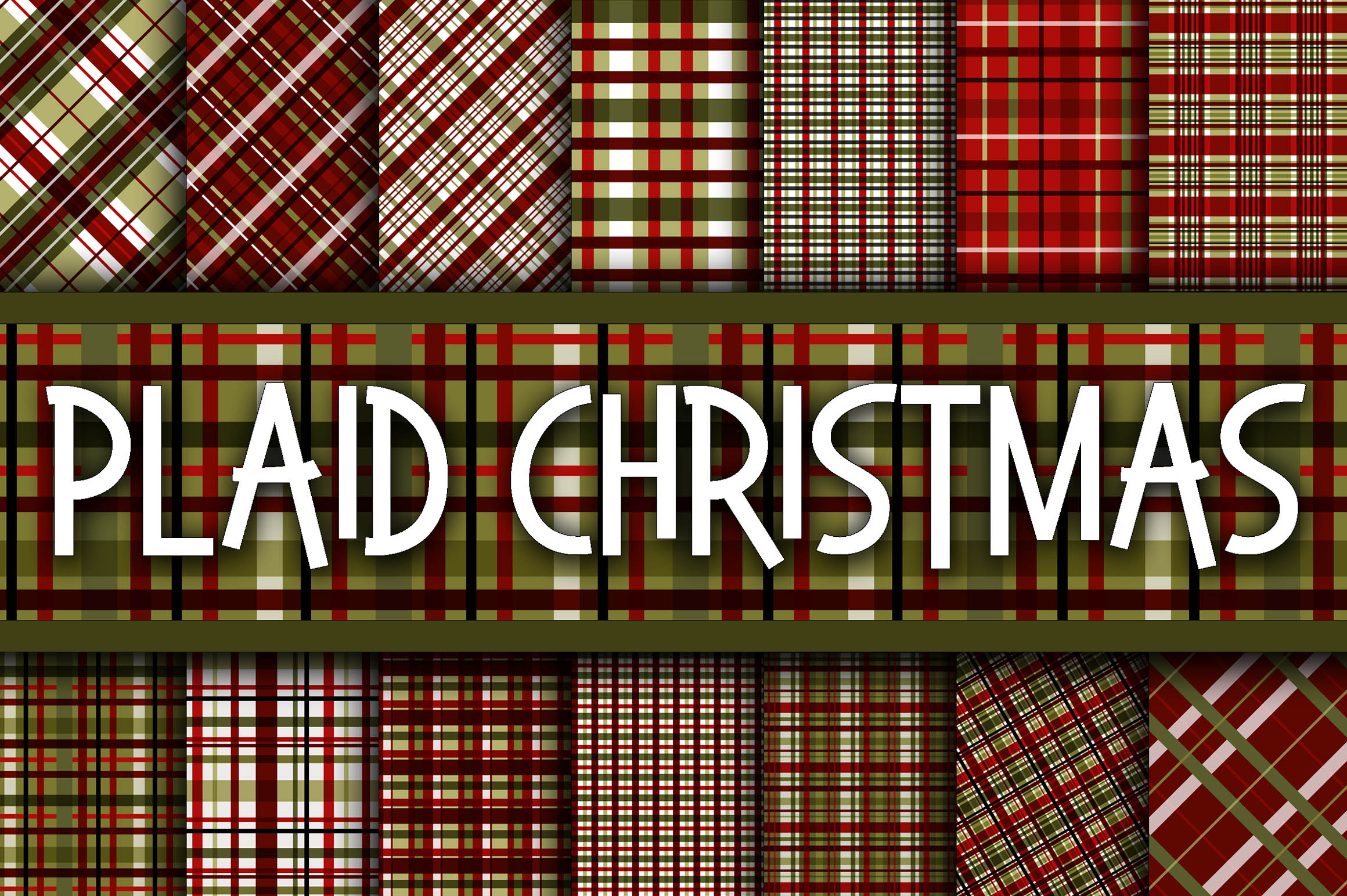 Download Free Plaid Christmas Digital Paper Graphic By Oldmarketdesigns for Cricut Explore, Silhouette and other cutting machines.