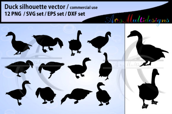 Print on Demand: Duck Silhouette Graphic Illustrations By Arcs Multidesigns