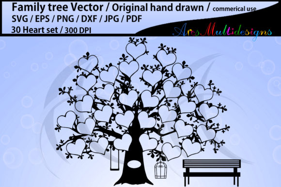 Print on Demand: 30 Heart Family Tree Vector Grafik Illustrationen von Arcs Multidesigns