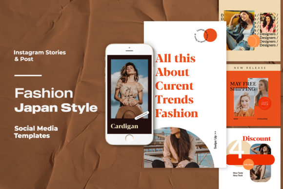 Fashion Japan Style Instagram Graphic Web Elements By qohhaarqhaz