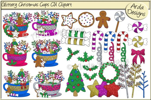 Print on Demand: Glittered Christmas Cups CU Clipart Graphic Illustrations By Arda Designs