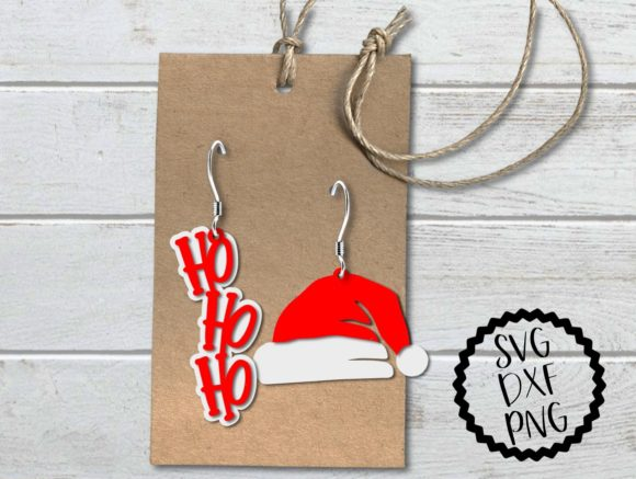 Print on Demand: Santa Hat and Ho Ho Ho Earrings SVG Graphic Print Templates By PrintsOfPop