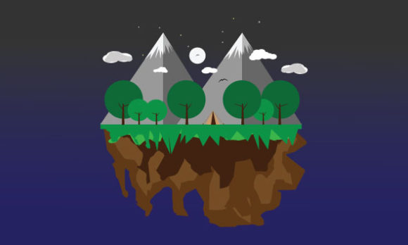 Download Free Floating Island Landscape Graphic By Curutdesign Creative Fabrica for Cricut Explore, Silhouette and other cutting machines.