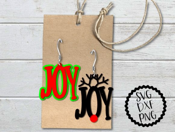 Download Free Joy Reindeer Holiday Earrings Svg Graphic By Printsofpop for Cricut Explore, Silhouette and other cutting machines.