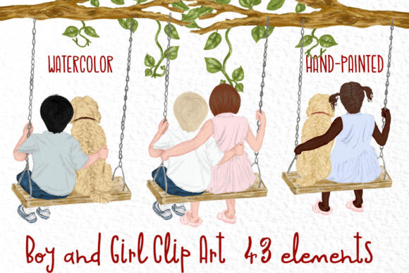 Watercolor Kids on Swing Graphic Illustrations By vivastarkids