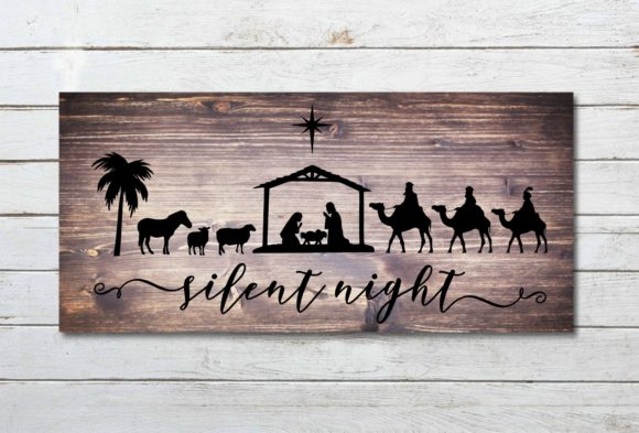 Download Free Silent Night Nativity Scene Graphic By Printsofpop Creative for Cricut Explore, Silhouette and other cutting machines.