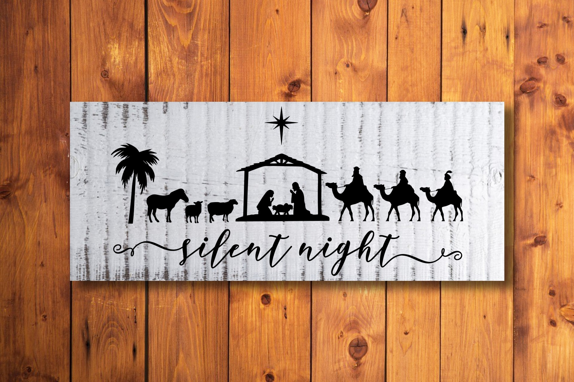 Download Free Silent Night Nativity Scene Graphic By Printsofpop Creative SVG Cut Files