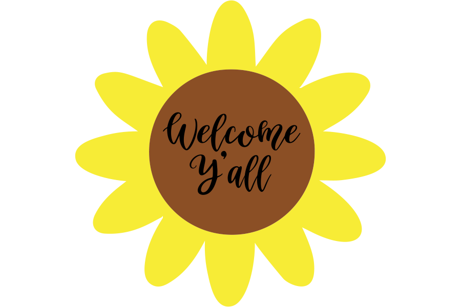 Download Free Welcome Y All Sunflower Svg Graphic By Am Digital Designs for Cricut Explore, Silhouette and other cutting machines.