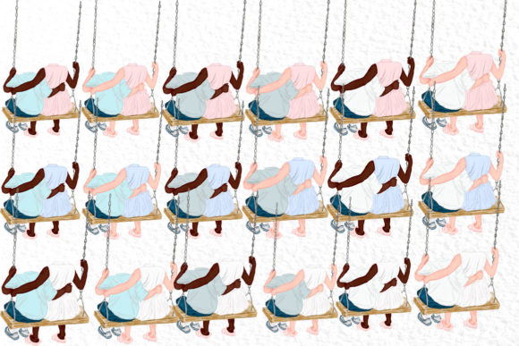 Download Free Watercolor Kids On Swing Graphic By Vivastarkids Creative Fabrica for Cricut Explore, Silhouette and other cutting machines.
