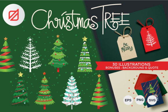 Print on Demand: Christmas Tree Set Graphic Illustrations By illusatrian