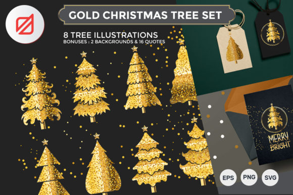Print on Demand: Gold Christmas Tree Set Graphic Illustrations By illusatrian