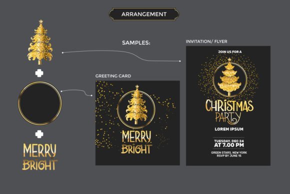 Download Free Gold Christmas Tree Set Graphic By Illusatrian Creative Fabrica for Cricut Explore, Silhouette and other cutting machines.