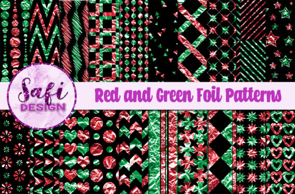 Print on Demand: Red and Green Foil Patterns Graphic Patterns By Safi Designs