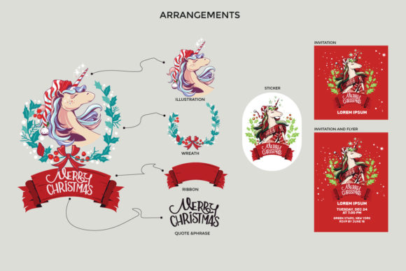 Download Free Christmas Unicorn Set Graphic By Illusatrian Creative Fabrica for Cricut Explore, Silhouette and other cutting machines.
