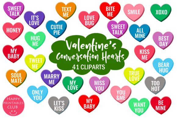 Valentine's Conversation Hearts Cliparts Graphic Illustrations By Happy Printables Club