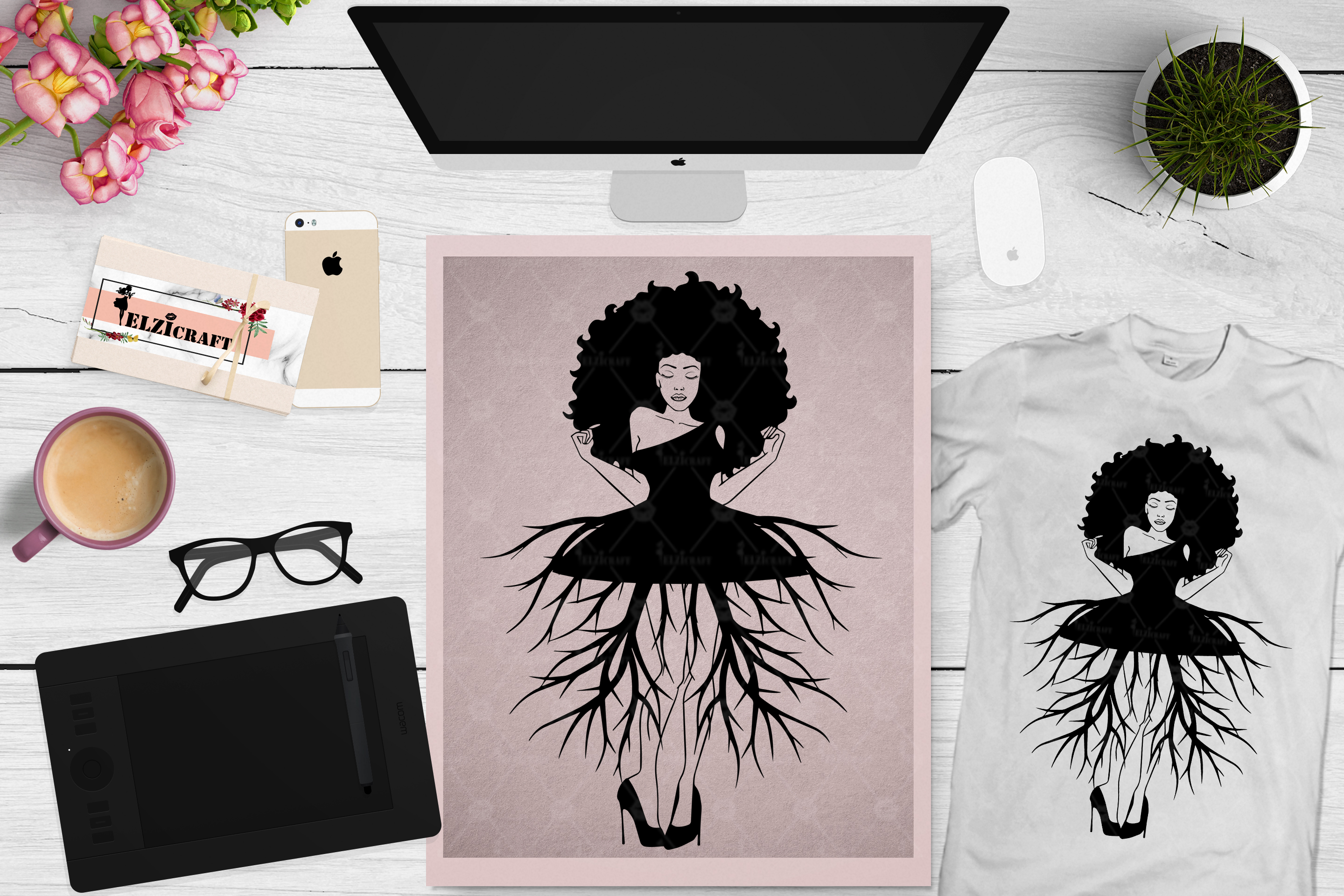 Download Free Afro Woman Roots Skirt Silhouette Graphic By Elzicraft for Cricut Explore, Silhouette and other cutting machines.