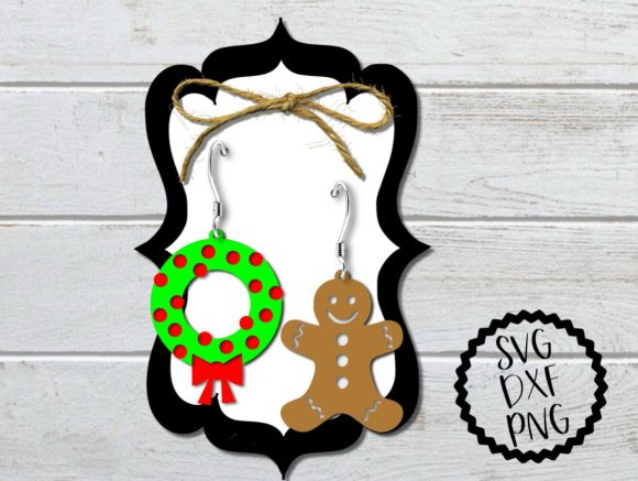 Download Free Wreath And Gingerbread Man Earrings Svg Graphic By Printsofpop for Cricut Explore, Silhouette and other cutting machines.