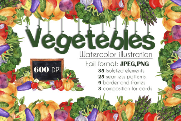 Print on Demand: Vegetables Watercolor Set Graphic Illustrations By VashaRisovasha