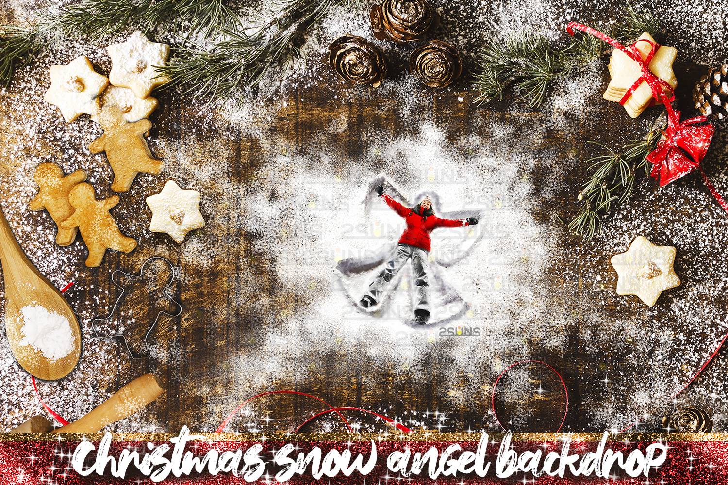 Download Free Christmas Backdrop Snow Angel Cookie Graphic By 2suns Creative for Cricut Explore, Silhouette and other cutting machines.