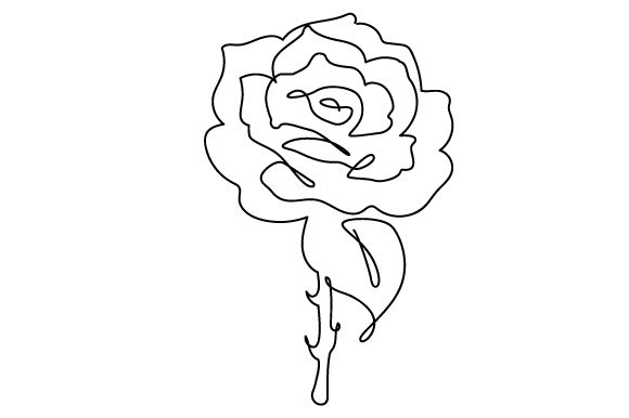 Download Free Flower In Line Art Style Svg Cut File By Creative Fabrica Crafts for Cricut Explore, Silhouette and other cutting machines.