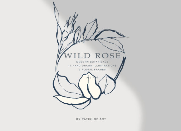 Download Free Modern Fine Art Hand Drawn Rose Clipart Graphic By Patishop Art for Cricut Explore, Silhouette and other cutting machines.