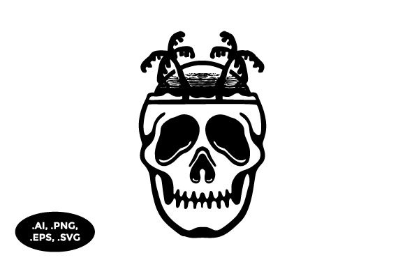 Download Free Skull Beach Illustration Graphic By Sasongkoanis Creative Fabrica for Cricut Explore, Silhouette and other cutting machines.