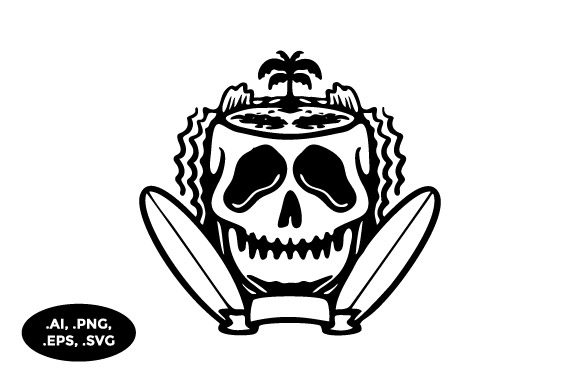 Download Free Skull Surfboard Beach Illustration Graphic By Sasongkoanis for Cricut Explore, Silhouette and other cutting machines.