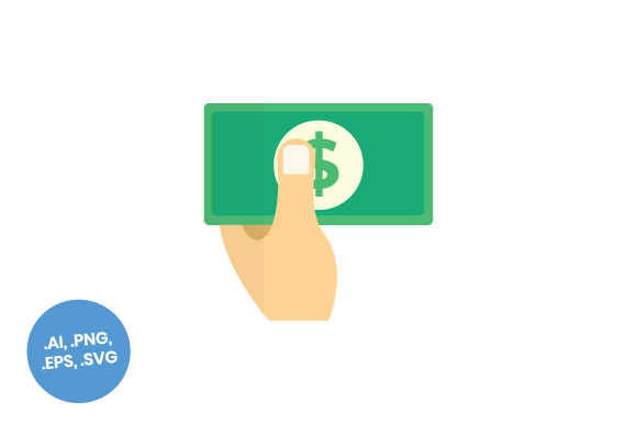 Download Free Business Hand And Dollar Flat Icon Graphic By Sasongkoanis for Cricut Explore, Silhouette and other cutting machines.