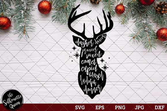 Download Free Dasher Dancer Prancer Vixen Graphic By Thesilhouettequeenshop for Cricut Explore, Silhouette and other cutting machines.