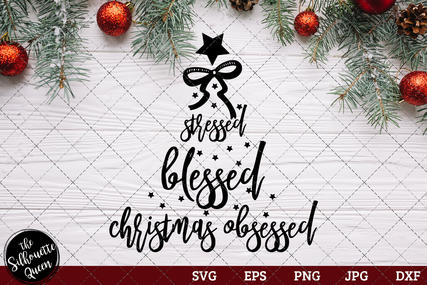 Download Free Stressed Blessed And Christmas Obsessed Graphic By for Cricut Explore, Silhouette and other cutting machines.
